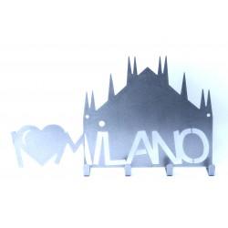 """Appendi chiavi """"I Love Milano"""" inox"""